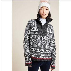 Anthropologie Rafela half zip Nordic sweater
